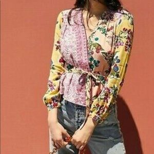 Anthropologie Floral Patchwork Wrap Top Size 4